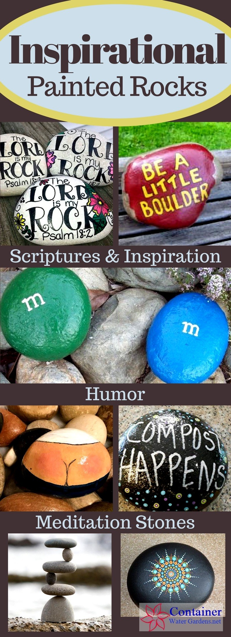 Painted Rock Ideas For The Garden Container Water Gardens