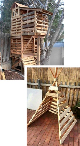 Pallet fort and teepee