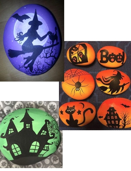 Silhouette Halloween Painted Rocks Container Water Gardens